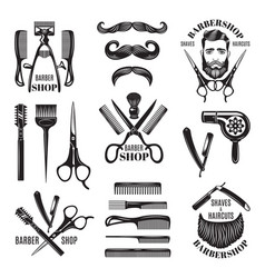 set of different barber shop tools vector image vector image