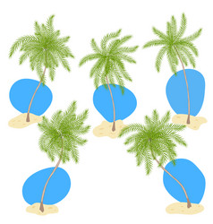 set of palm trees with sand and blue sky vector image