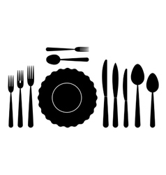 Set of tableware on white background vector