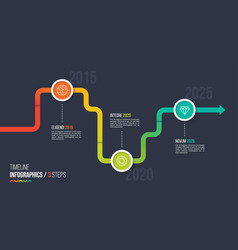 Three steps timeline or milestone infographic vector