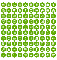 100 business career icons hexagon green vector