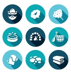 Set of bath and sauna accessories icons vector