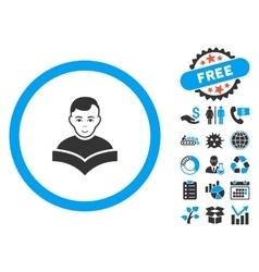 Student Study Book Flat Icon with Bonus vector image