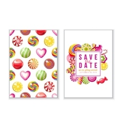 Save the date backgrounds with candies vector