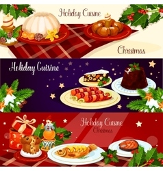 Christmas dinner dishes with holly and gift banner vector