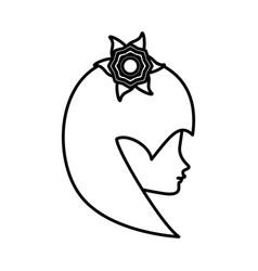 Outline head woman flower romance vector