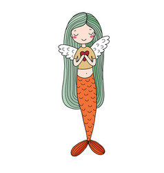 beautiful little mermaid siren sea theme vector image