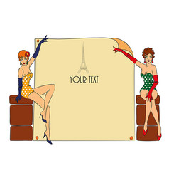postcard with two pin-up girls vector image