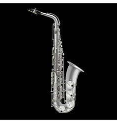 Photorealistic saxophone isolated on a black vector