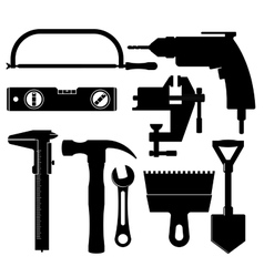 Silhouettes of construction tools vector