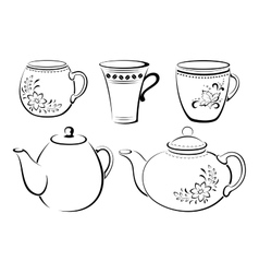Teapots and cups pictograms vector