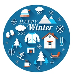 Winter icons label vector