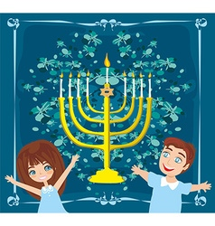 Children celebrating hanukkah abstract card vector