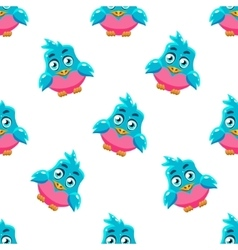 Cute pattern with blue bird vector