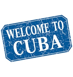 Welcome to cuba blue square grunge stamp vector
