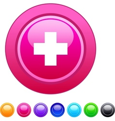 Plus circle button vector image