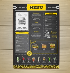 Vintage chalk drawing fast food menu design vector