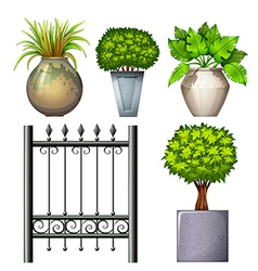 A steel gate and potted plants vector