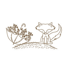 Brown contour graphic of fox in hill and umbrella vector