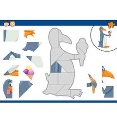 Cartoon penguin jigsaw puzzle task vector