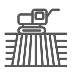 Combine harvester on field line icon farming vector