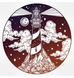Decorative lighthouse vector image
