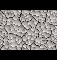Dry cracked mud with layered depth cracks vector
