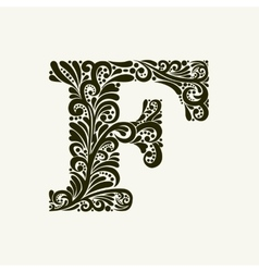 Elegant capital letter f in the style baroque vector