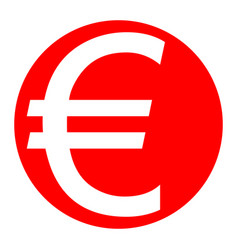 Euro sign white icon in red circle on vector