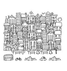 European city street sketch for your design vector image vector image