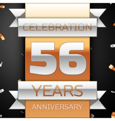Fifty six years anniversary celebration golden and vector