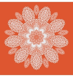 Hand drawn mandala on orange background All vector image