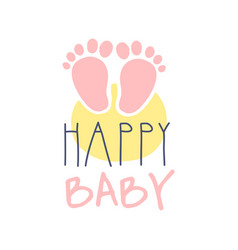 Happy baby logo colorful hand drawn vector