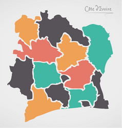 Ivory coast map with states vector