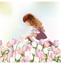 Little girl playing in a field of tulips vector