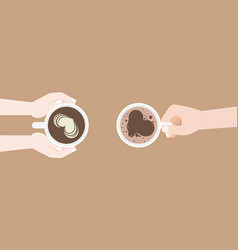 Man and woman holding coffee cup in hand vector