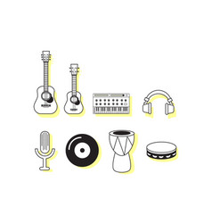 Music instruments icon sets vector