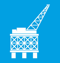Oil platform icon white vector