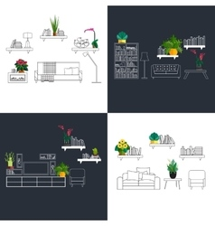 Outline interior set decorated with flat homeplant vector image vector image