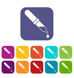 Pipette icons set vector
