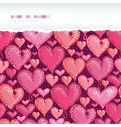 Red Valentines Day Hearts Horizontal Torn Seamless vector image