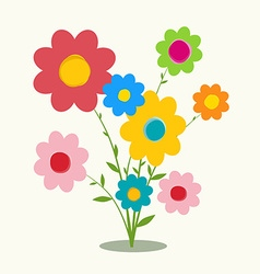 Retro Flat Design Flowers vector image