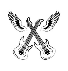 rock electric guitars wings vector image