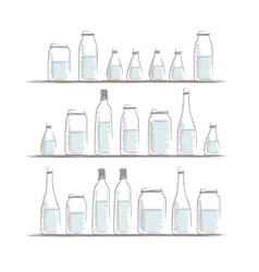 Set of bottles sketch on shelves for your design vector image vector image