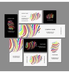 Set of business cards colorful zebra print design vector
