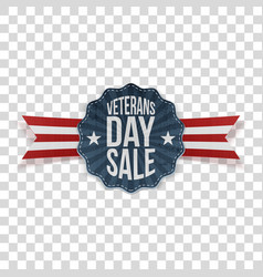 Veterans day sale festive emblem with ribbon vector