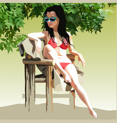Woman in a swimsuit sunbathing in a chair vector