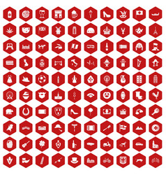 100 europe icons hexagon red vector