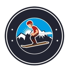 Ski extreme sport athlete avatar vector