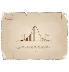 Normal distribution diagram or bell curve chart on vector